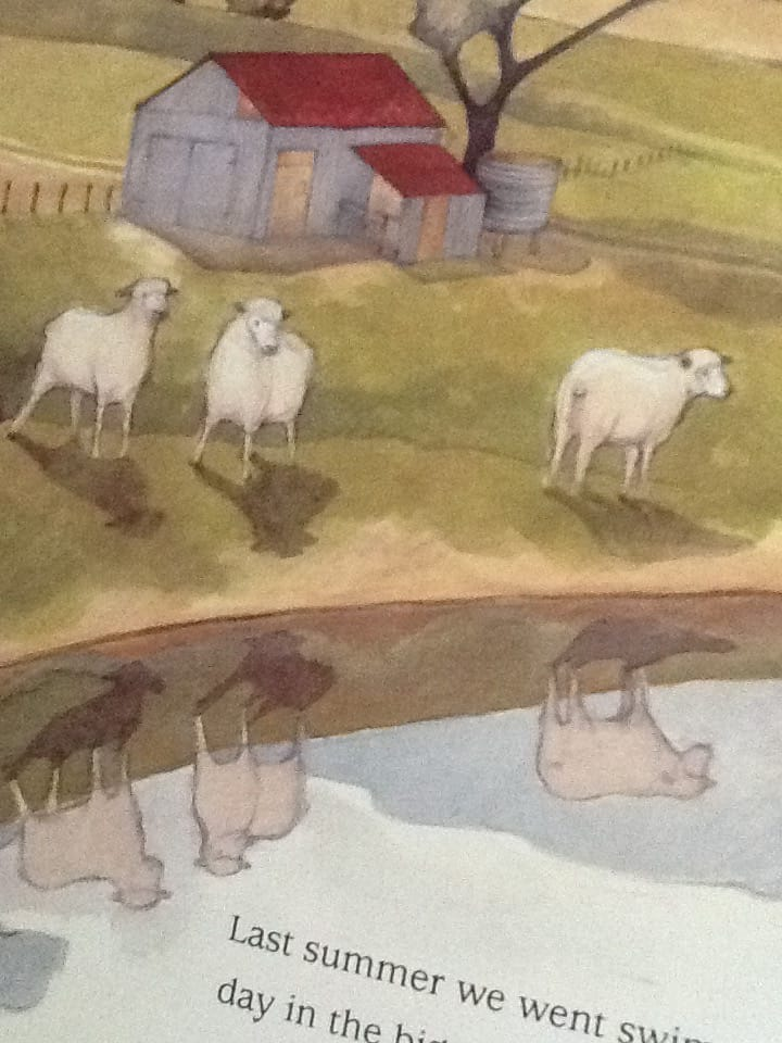 Each sheep has two versions: the real version and the ghostly reflected version in the soon-to-be-gone water.